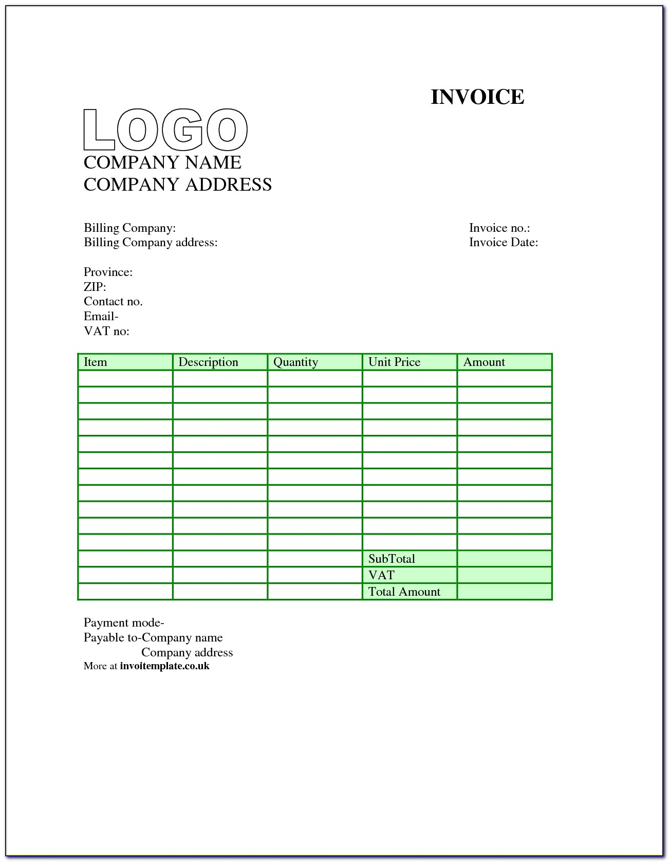 Invoice Template Open Office Free Download