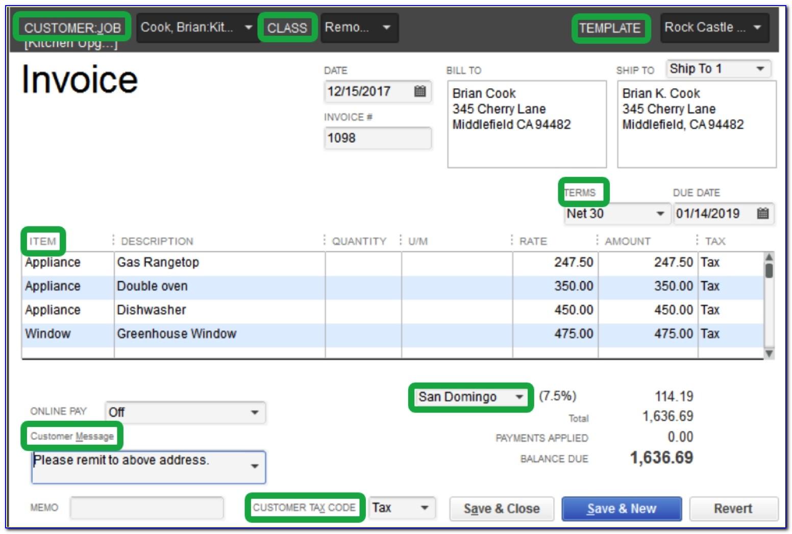 Invoice Template Quickbooks Free