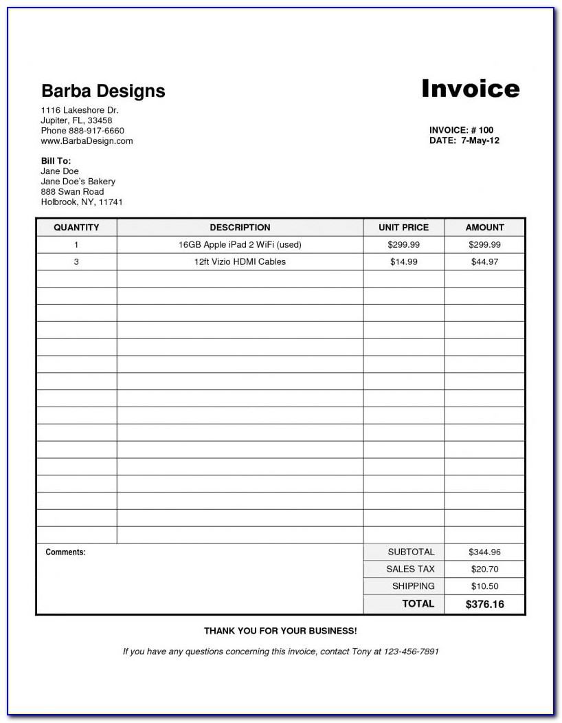 Invoice Template Word 2010 Download