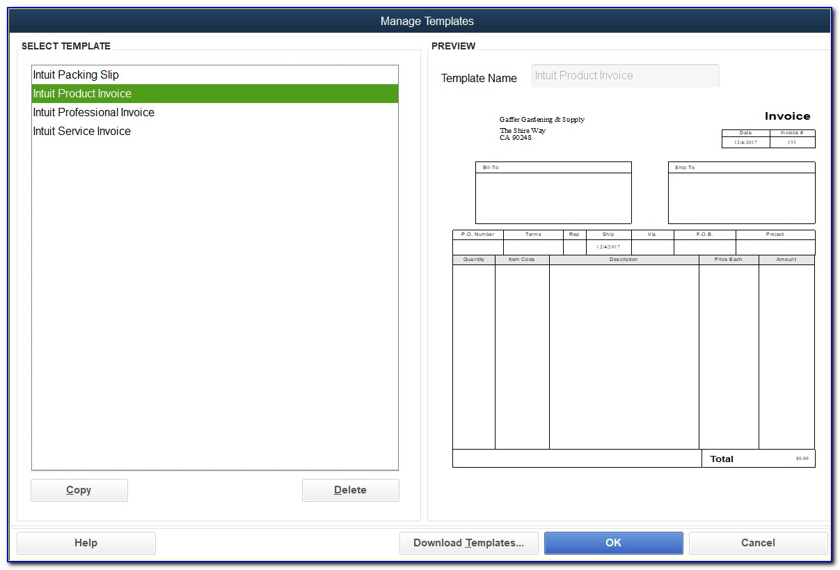 Invoice Templates For Quickbooks 2012