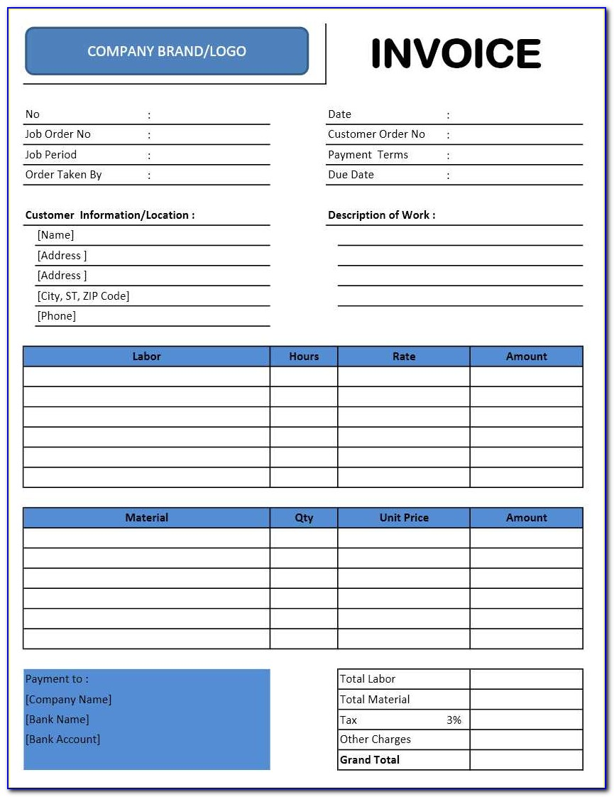 Invoice Templates For Quickbooks Pro