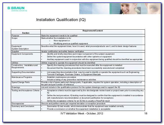 Iq Oq Pq Format Sample