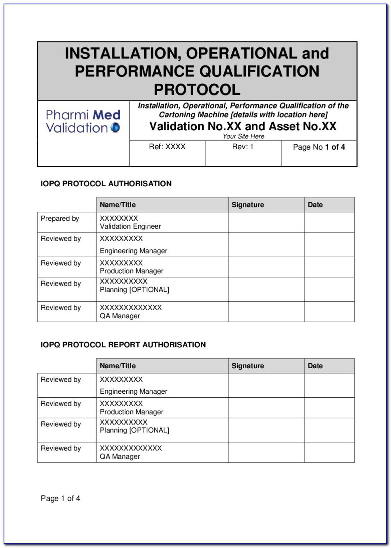 Iq Oq Protocol Template
