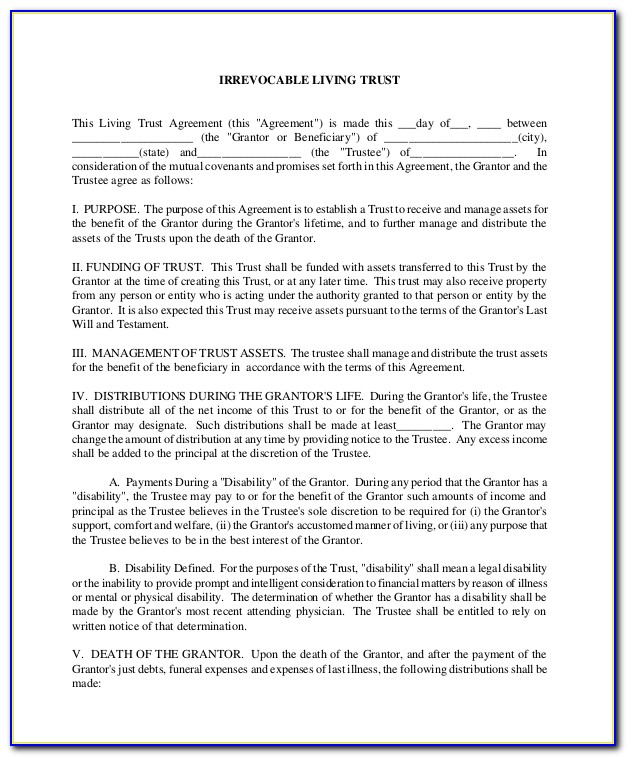 Irrevocable Living Trust Forms