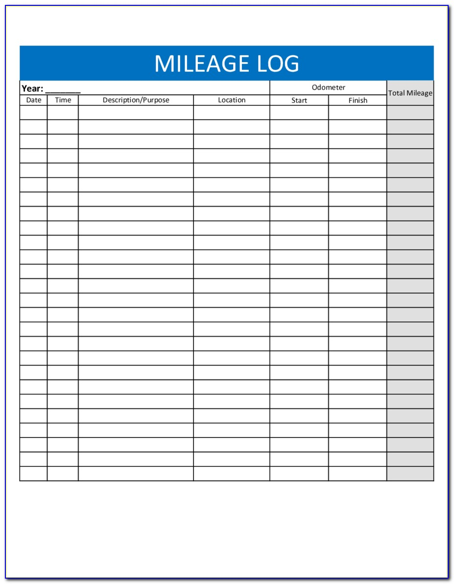 Irs Approved Mileage Log Template