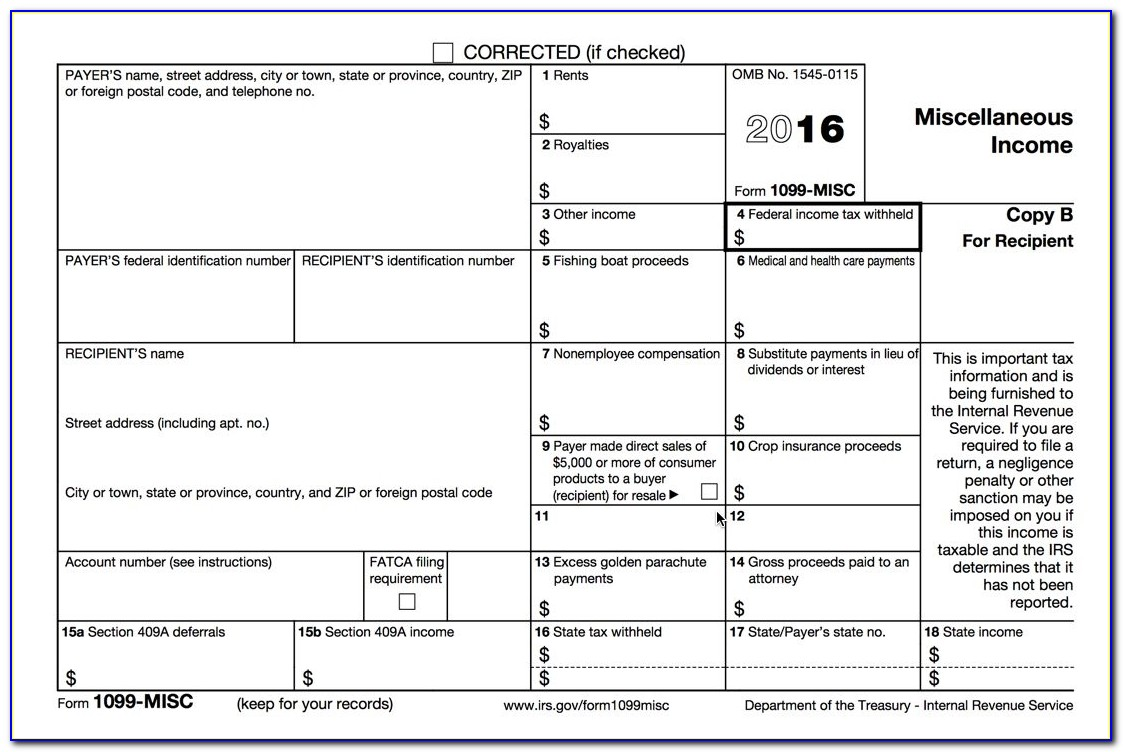 Irs Form 1099 Int Template