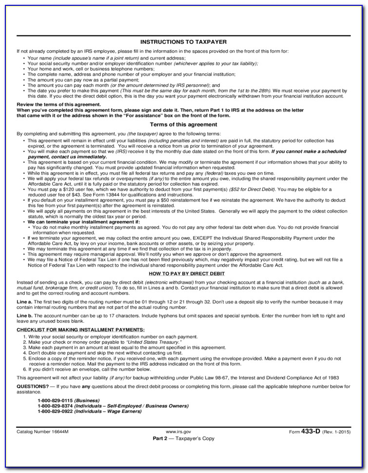 Irs Installment Agreement Form 9465 Instructions