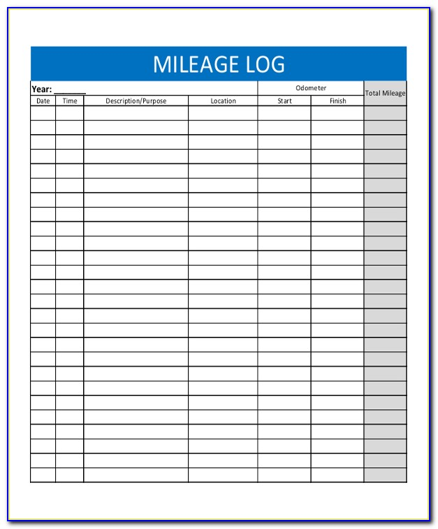 Irs Mileage Log Template Download