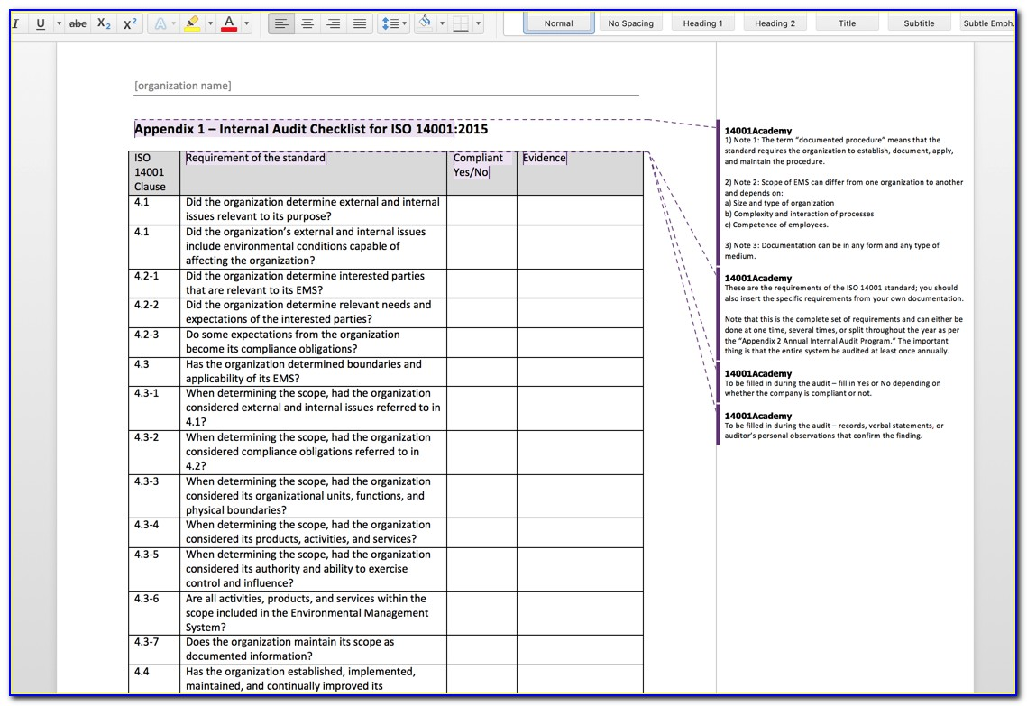 Iso 13485 Internal Audit Schedule Template