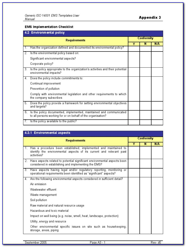 Iso 14001 Internal Audit Report Example
