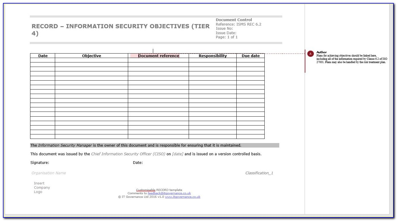 Iso 27001 Policy Template