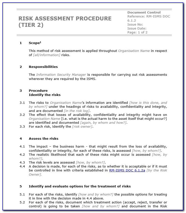 Iso 27001 Risk Assessment Sample