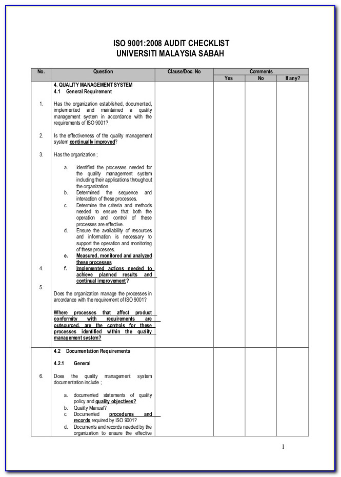 Iso 9001 Audit Plan Example