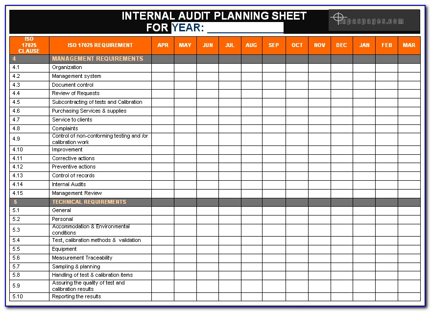 Iso 9001 Internal Audit Plan Sample