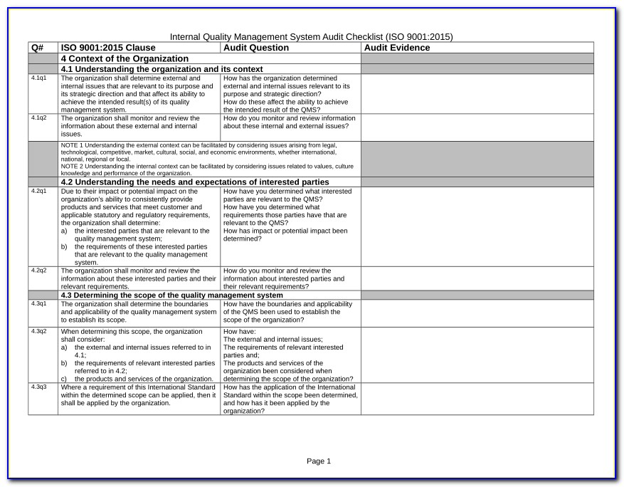 Iso 9001 Internal Audit Report Format