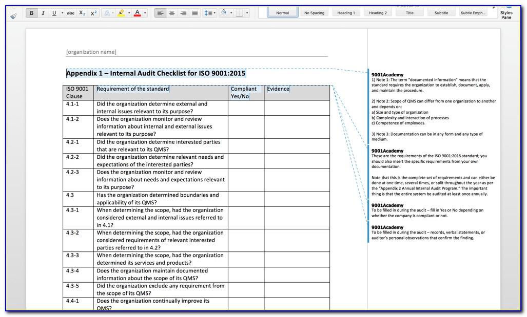 Iso 9001 Internal Audit Schedule Sample