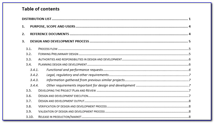 Iso 9001 Process Document Template