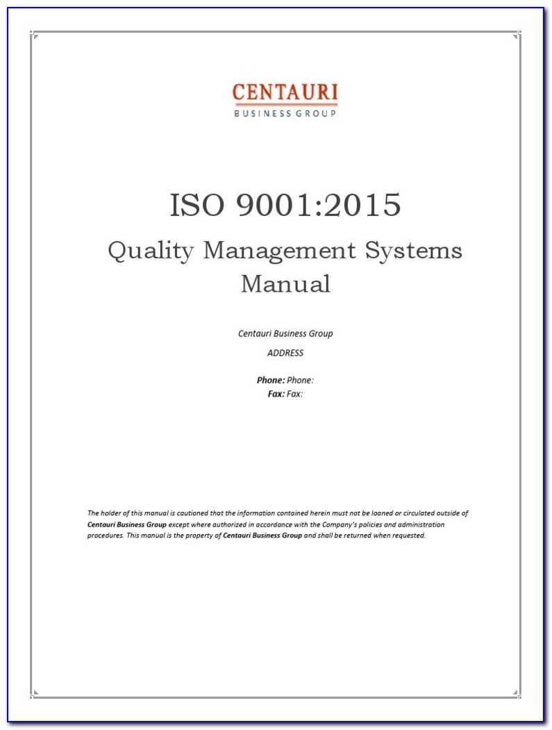 Iso 9001 Quality Manual Sample Free
