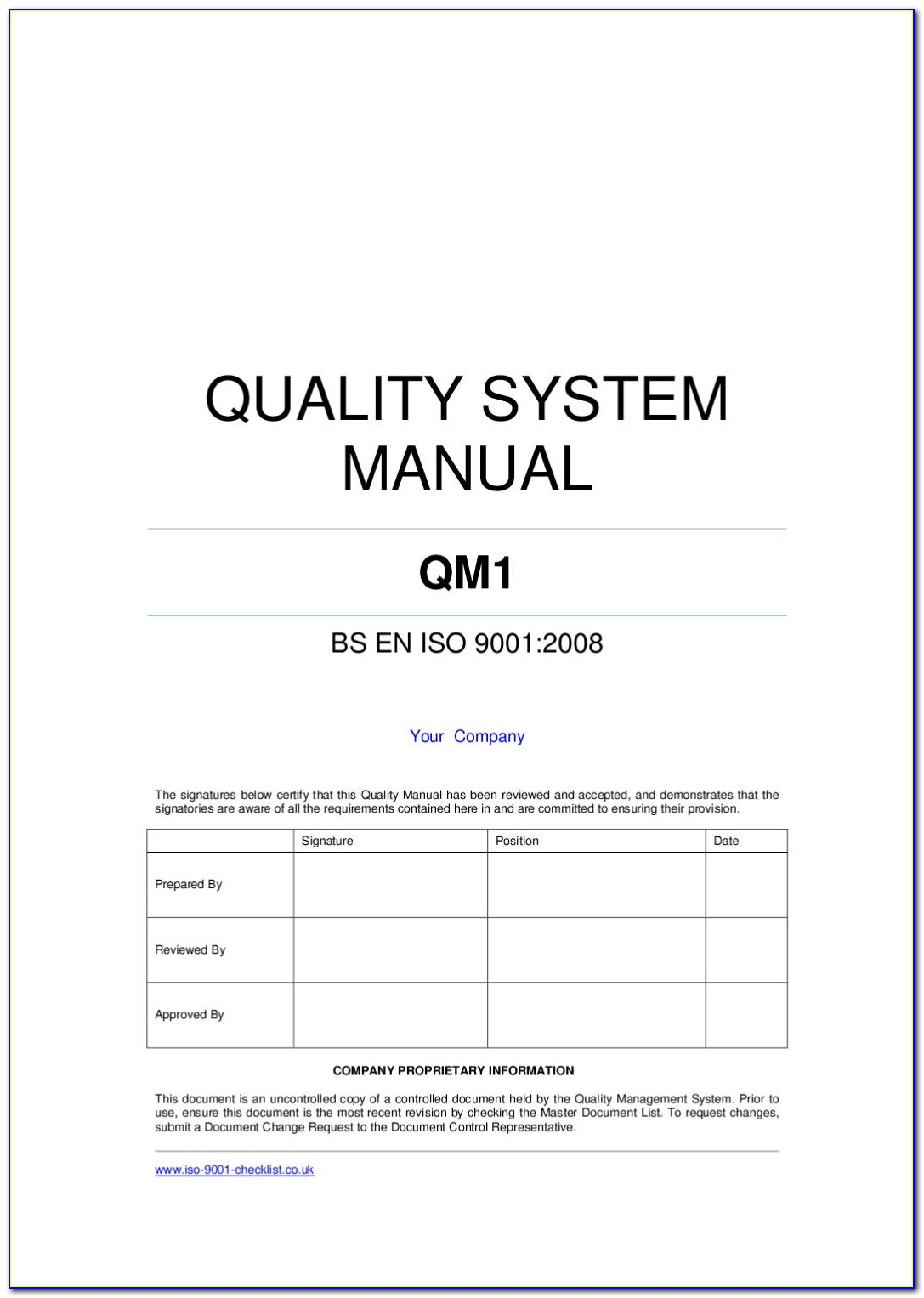 Iso 9001 Quality Manual Template Pdf