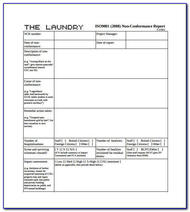 Iso 9001 Template Sample