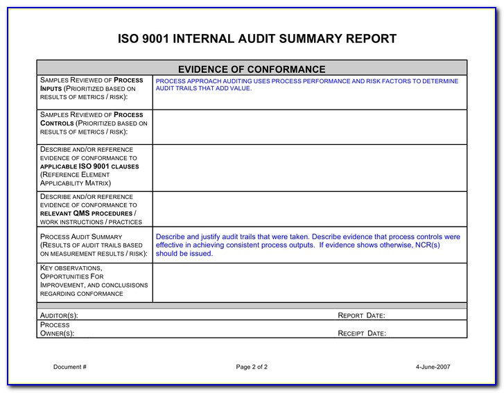 Iso Audit Report Examples