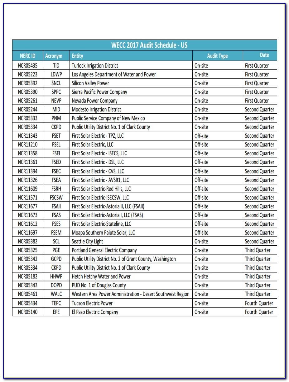 Iso Audit Schedule Example