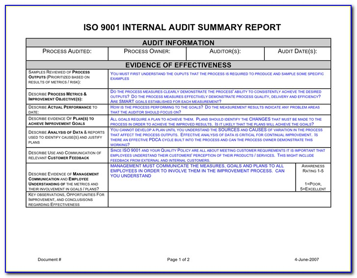 Iso Audit Summary Report Example