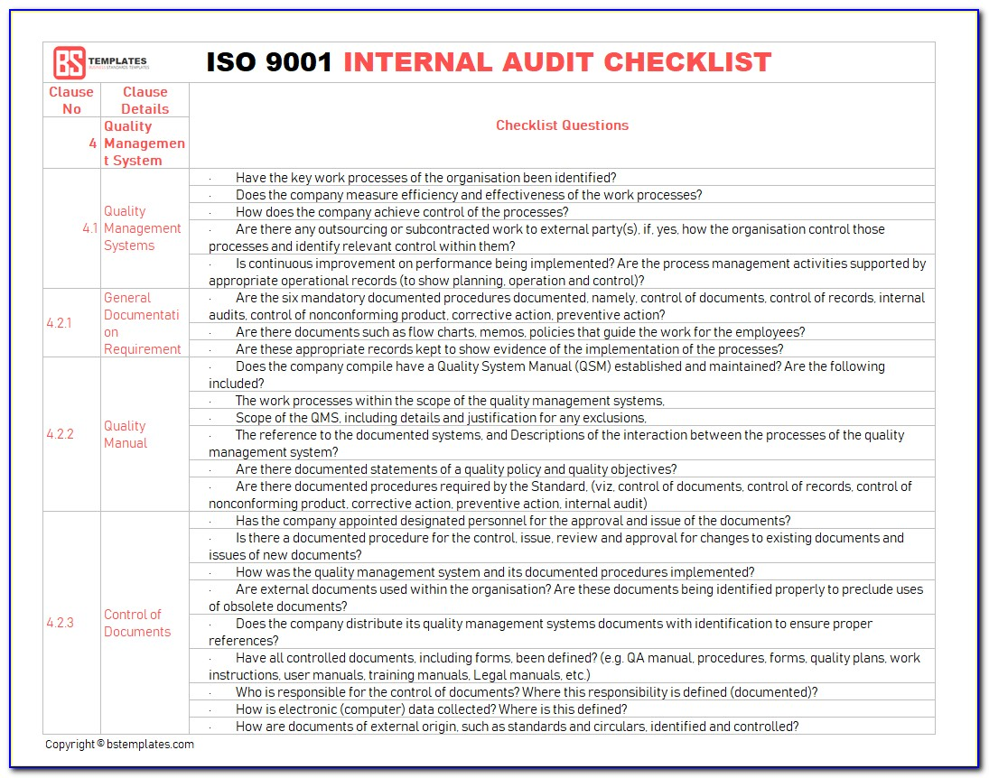 Iso Internal Audit Plan Format