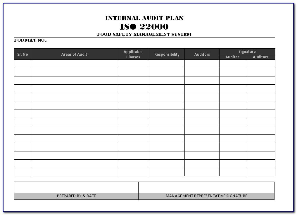 Iso Internal Audit Plan Sample