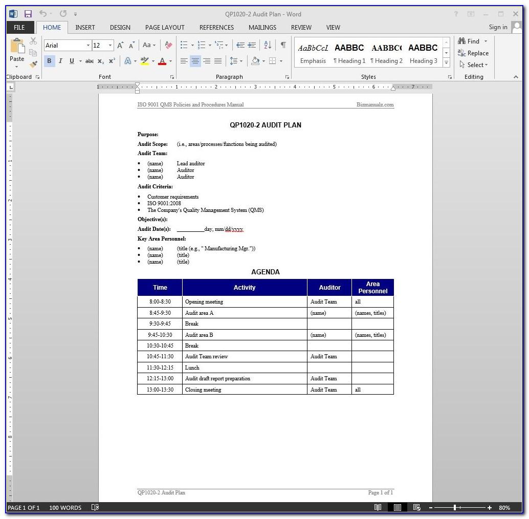 Iso Internal Audit Plan Template