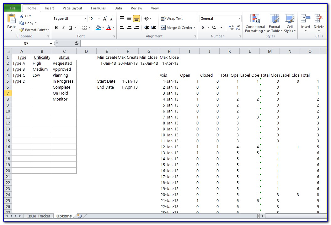 Issue Tracking Log Template Excel