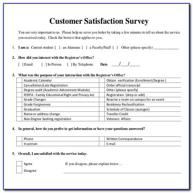 It Customer Satisfaction Survey Questionnaire Pdf
