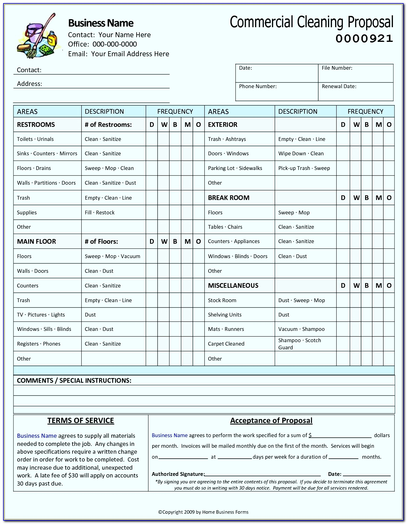 Janitorial Cleaning Bid Template