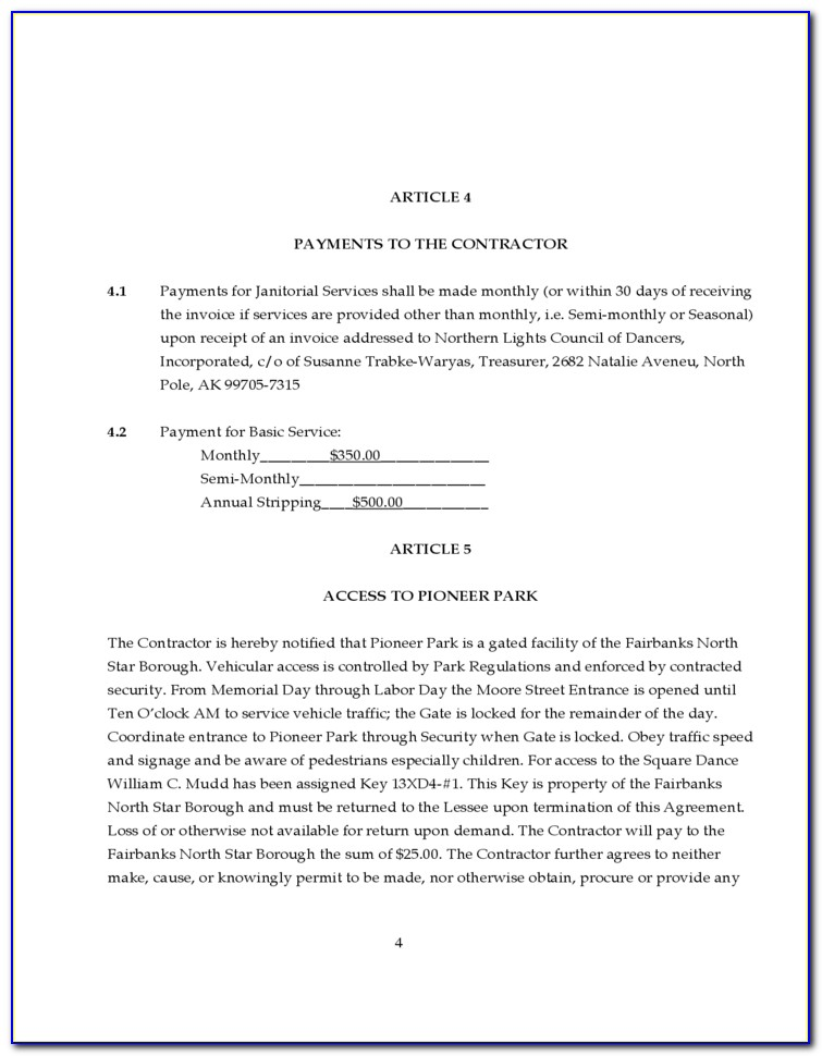 Janitorial Service Contract Agreement