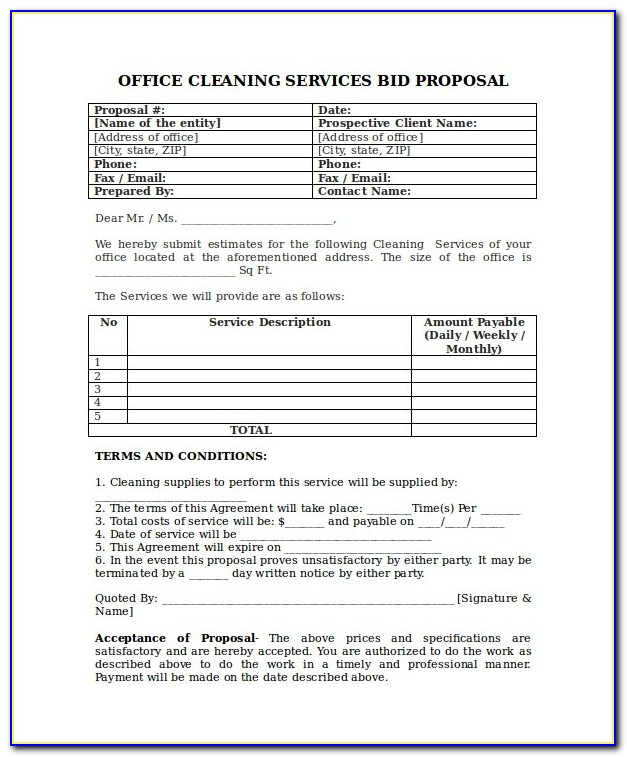 Janitorial Services Agreement Sample
