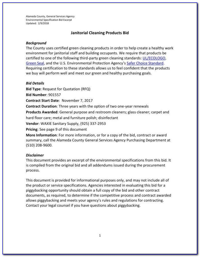 Janitorial Services Contract Sample