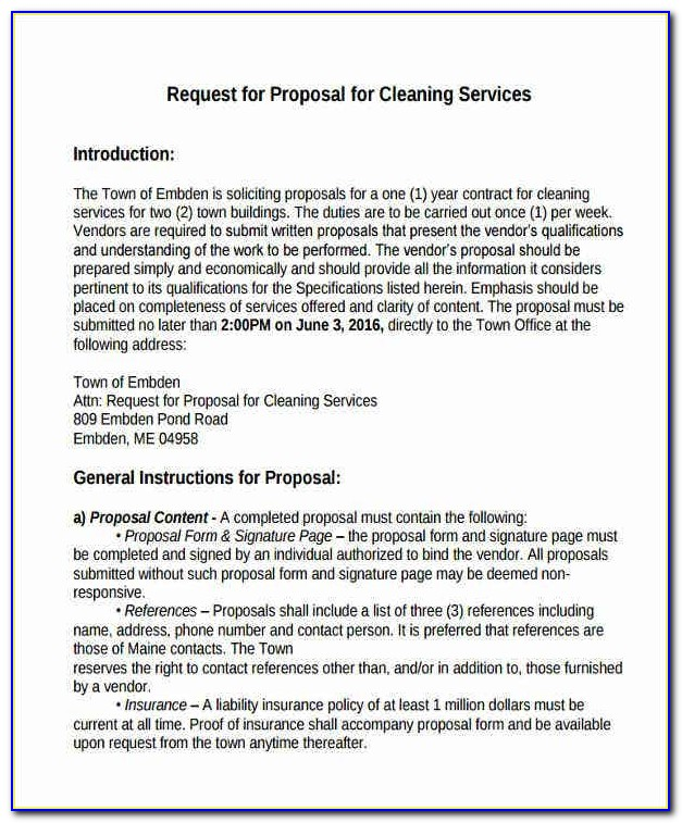 Janitorial Services Request For Proposal Template