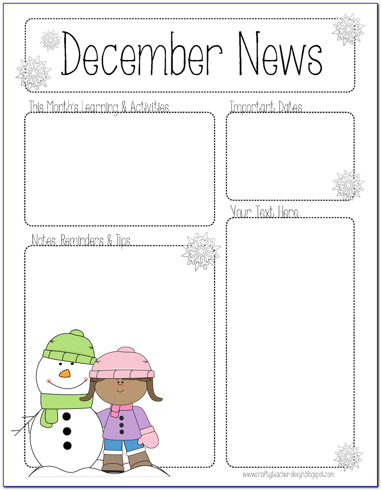 January Class Newsletter Template