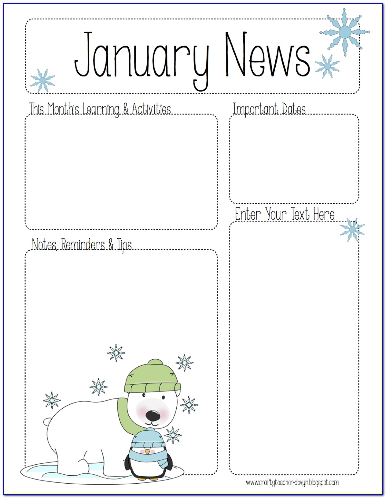 January Daycare Newsletter Templates