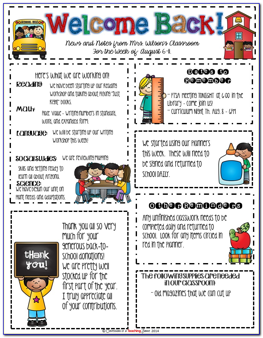 January Newsletter Template Kindergarten