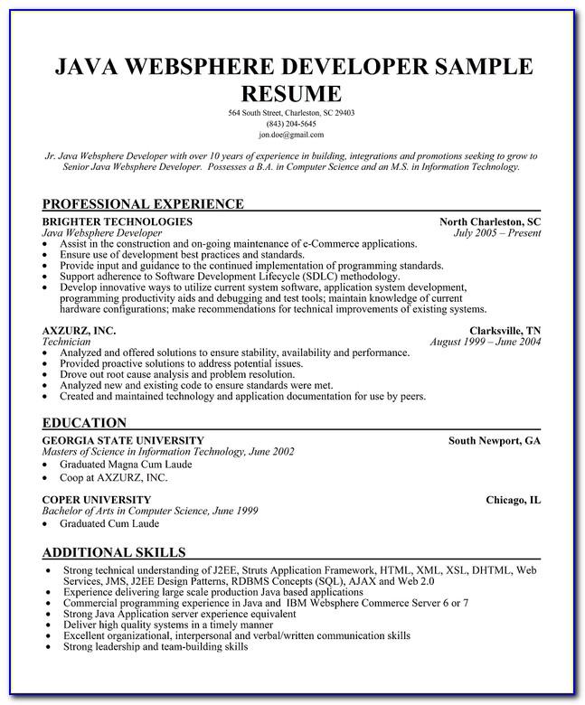 Java Developer Cv Template
