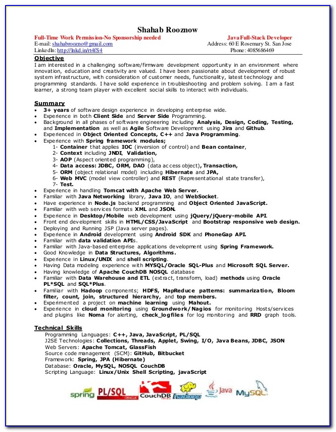 Java Developer Resume Sample For Fresher