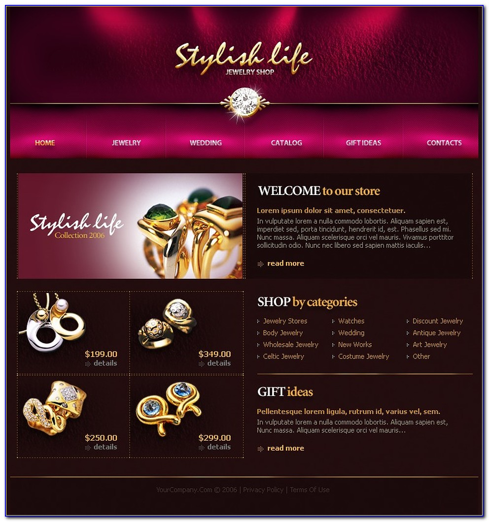 Jewelry Web Design Templates