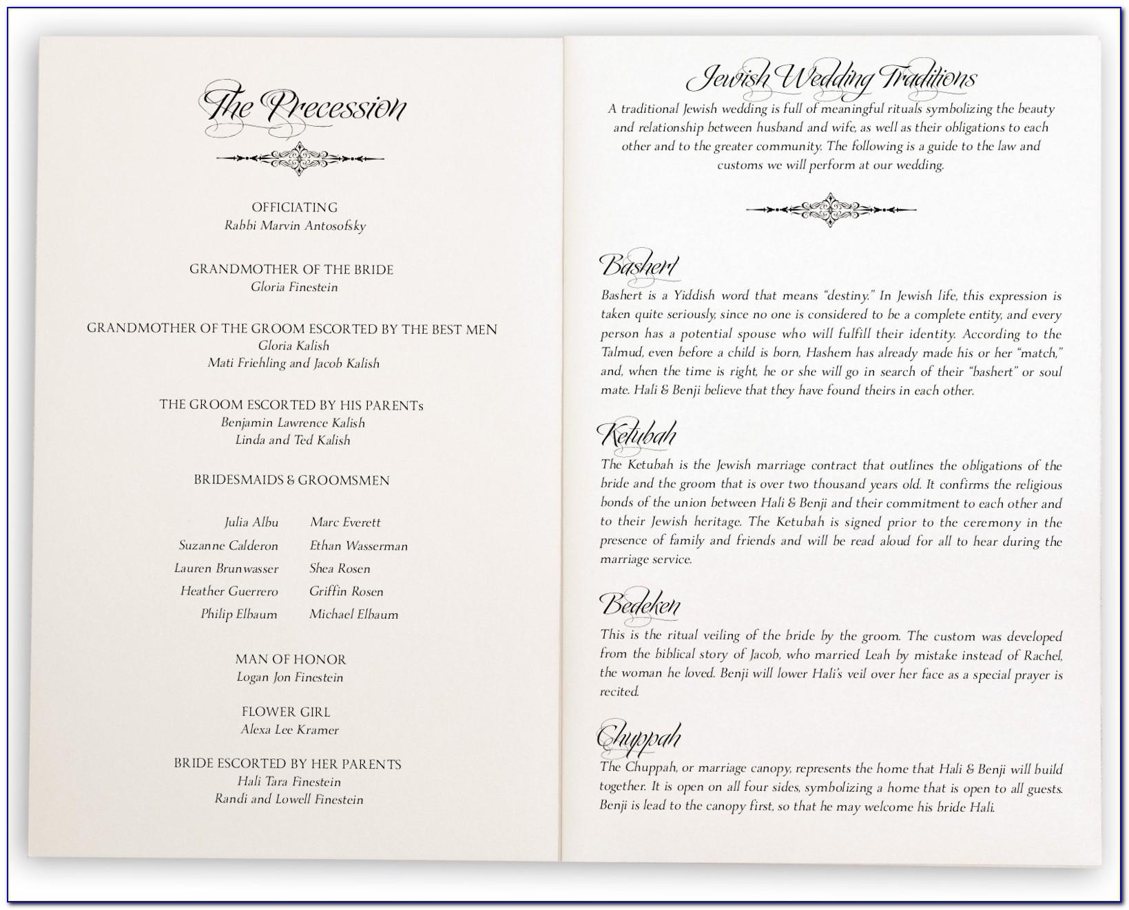Jewish Wedding Ceremony Program Template