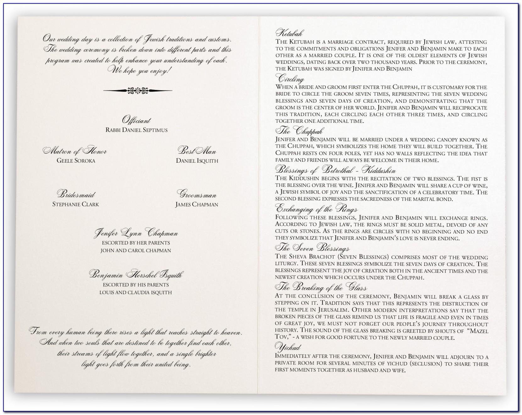 Jewish Wedding Ceremony Program Wording