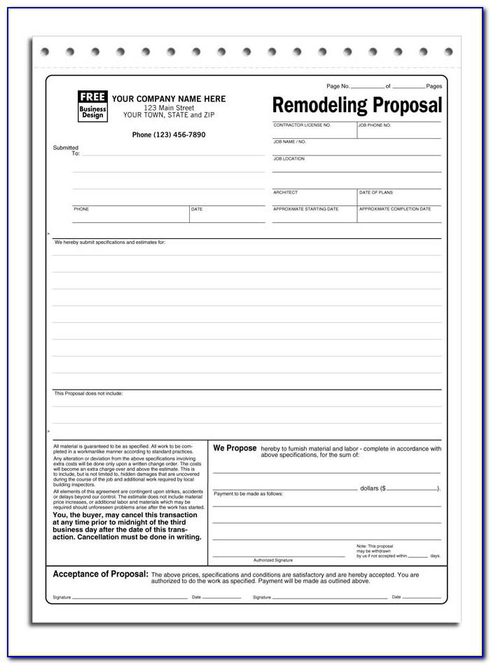 Job Bid Proposal Template Free