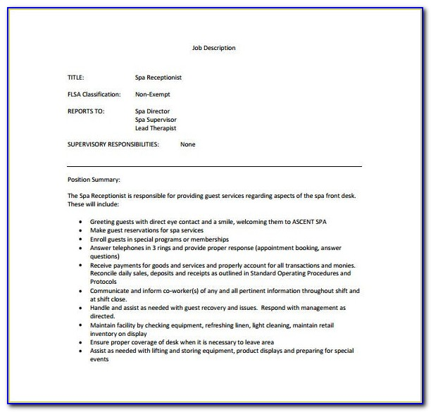 Job Description Receptionist Example
