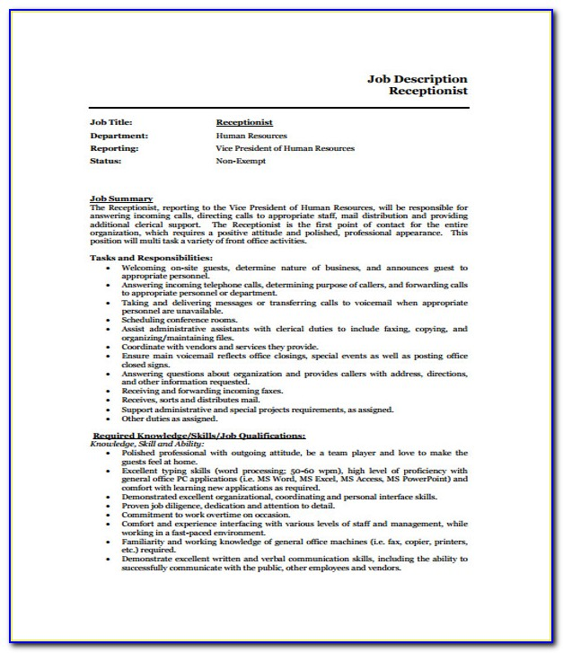 Job Description Receptionist Resume