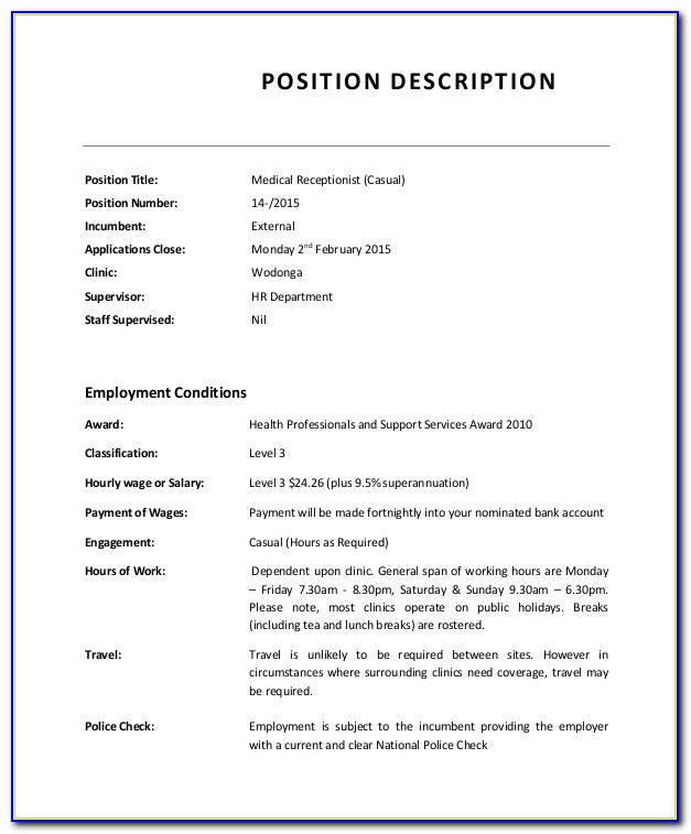Job Description Template Hotel Receptionist