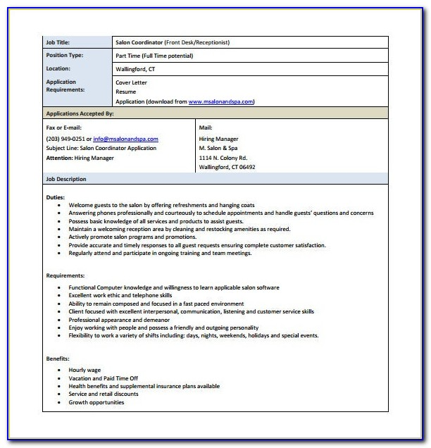 Job Description Template Medical Receptionist